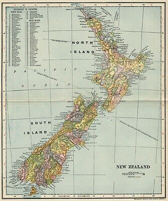 New Zealand Map: Authentic 1903 (Dated) Towns, RRs: North Island & South Island