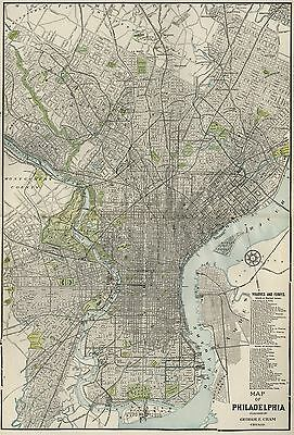 Philadelphia Street Map: Authentic 1901; Landmarks, Stations, Railroads