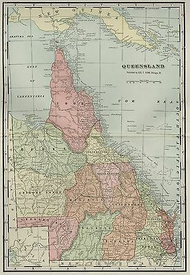 QUEENSLAND AUSTRALIA: Authentic 1899  Map: Cities; Towns; RRs; Topography