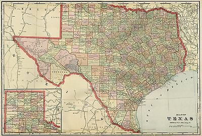 TEXAS Map: Authentic 1899; Counties, Cities, Towns, Railroads, Topography