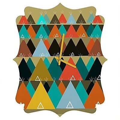 DENY Designs  Brian Buckley, Tipi Mountain, Quatrefoil Clock, Medium