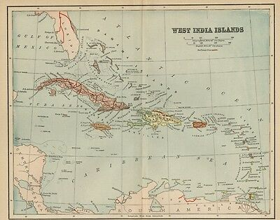 West Indies Map: 1891 Cuba, Jamaica, Puerto Rico, Virgin & Bahama Islands