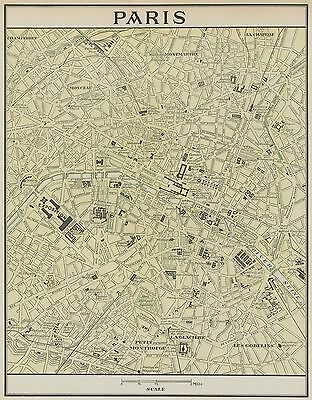 Paris France City Map 1899 Major Streets & Districts