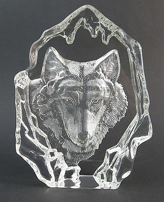 Wolf - 3-D Art Glass Crystal Block Sculpture- Clear - Boxed