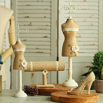 Linen Mannequin Jewelry Holder Display Showcase Necklace Earring Bracelet Ring