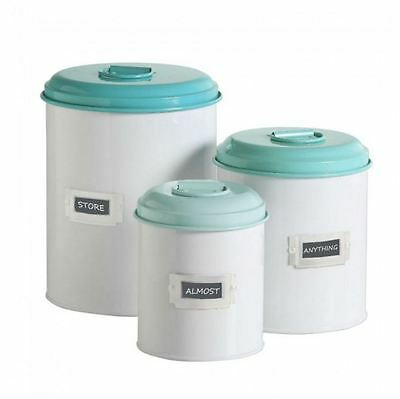 New Retro Kitchen Canister Set Of 3 Lids Turquoise Teal Vintage Chic Storage