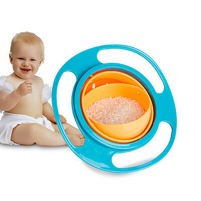 Baby Kid Children Gyro Food Bowl Dishes 360 Rotate Spill-Proof Bowl Dishes US