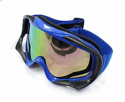 Blue UV Protection Motorbike MX Racing Goggles Quad Dirt Trail Bike Skiing