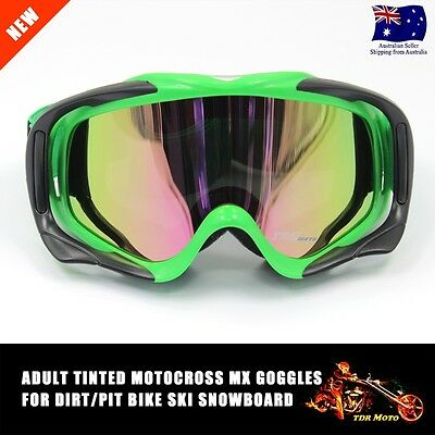 Green Dirt Bike Gear-MX Motocross Moto Goggles*anti-fog*UV protection*Tinted*