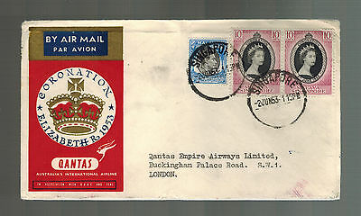 1953 Singapore QE II Coronation First Day Cover England Queen Elizabeth Qantas
