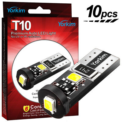 Yorkim 10 X White Canbus Error Free T10 2825 168 W5W Cree LED 3 SMD Led Wedge