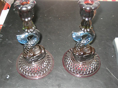 Pair of Very Rare Antique Cambridge Multicolored Glass Dolphin Candlesticks
