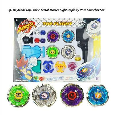 New 4D Fusion Top Metal Master Rapidity Fight Rare Beyblade Launcher Grip Set AU