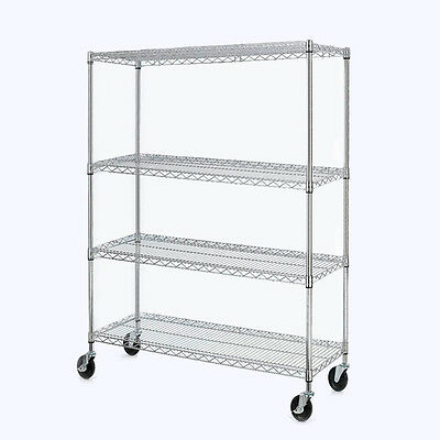 "Chrome 4-Shelf Steel Wire Tier Layer Shelving 72""x48x17"" Storage Rack"