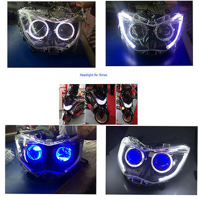For Nmax Parts Headlight Xenon HID Projector Lens Blue Devil Eye White Angel Eye