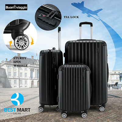 3PCS ABS Luggage Set Travel Bag W/TSA Lock Trolley Spinner Carry Suitcase Black