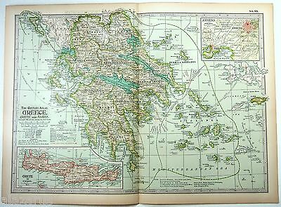Original 1897 Map of Greece by The Century Company