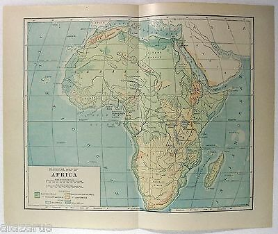 Original 1914 Physical Map of Africa by L. L. Poates.