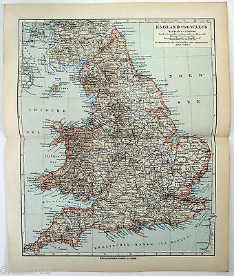 Original 1900 German Map of England and Wales