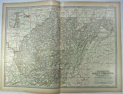 Original 1897 Map of West Virginia by The Century Company