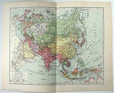 Original 1924 German Map of Asia