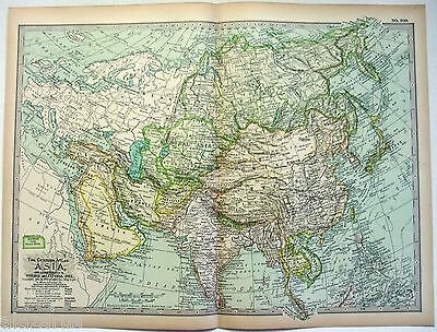 Original 1897 Map of Asia by The Century Company