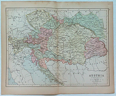 Original Map of Austria by J. Bartholomew 1877. Hungary Bohemia Moravia Galacia