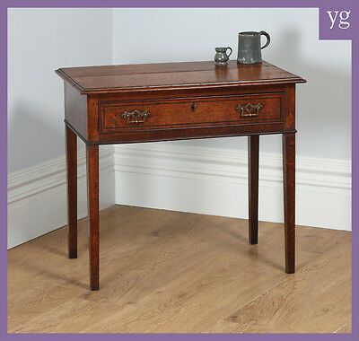 Antique English George IV Country Oak & Ebony Side / Hall Table (Circa 1820)