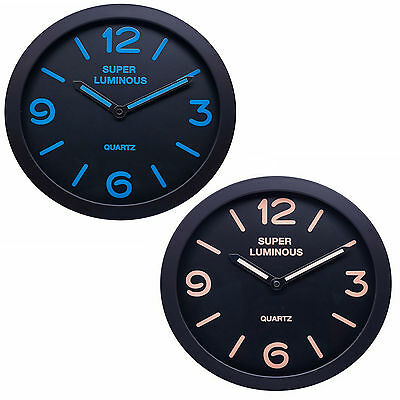 "Large 12"" Glow In The Dark Wall Clock Hanging Bedroom Home Office Quartz Round"