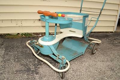 50s Vtg TAYLOR TOT Baby STROLLER Walker BLUE BUGGY Carriage GOOD LABEL Art Deco