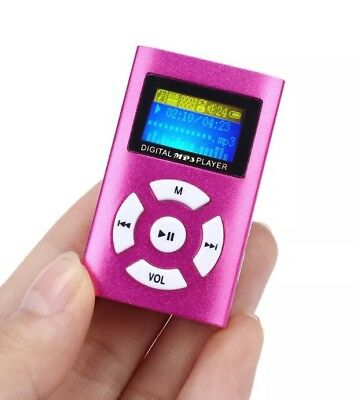 USB Mini Clip MP3 Player LCD Screen Sup. Up To 32GB Micro SD TF Card, Blue