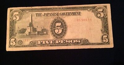 The Japanese Government 5 Pesos Banknote Stamped Philippines Japan Occupation