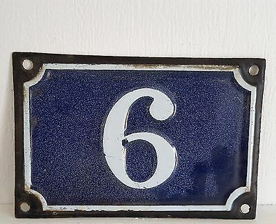 ANTIQUE FRENCH ENAMEL PORCELAIN DOOR HOUSE GATE NUMBER SIGN PLATE 6 OR 9 Blue