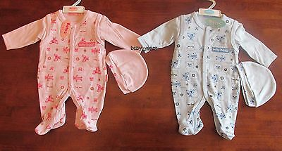 Baby Boys Girls Outfit Playsuit Top Hat Pink Blue Bear 3 Piece Clothing Set New
