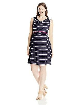 Three Seasons Womens Maternity SL Stripe Dress With Belt Plus Size 3X