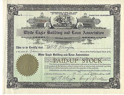Vintage Stock Certificate Dated 1939  White Eagle Building & Loan RARE