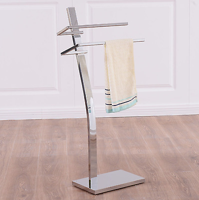 Bathroom Towel Holder 2 Tier Free Standing Floor Bath Rack Decor Hanger Elegant