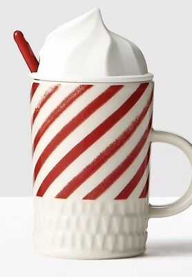 NWT 2016 Starbucks Candy Cane Whip Top Lid Coffee Mug With Red Spoon 10 oz