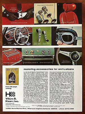 Vintage 1967 Original Print Ad VILEM B. HAAN International Motoring Accessories