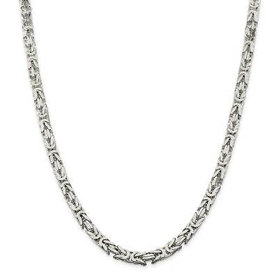 """.925 Sterling Silver 6mm Polished Square Byzantine Chain Necklace 8 - 24"""""""