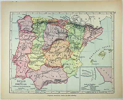 Vintage Longmans Map of Spain & Portugal to Illustrate the Peninsular War