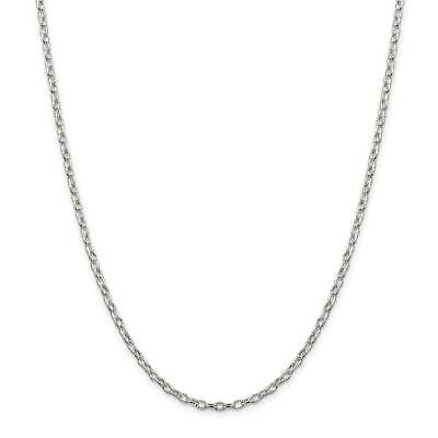 ".925 Sterling Silver 3mm Fancy Satin Rolo Link Chain Necklace 16"" - 30"""