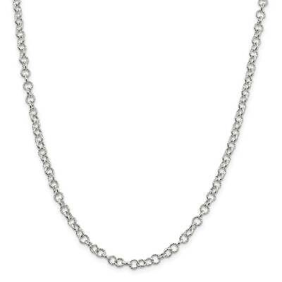""".925 Sterling Silver 4.75mm Fancy Polished Rolo Link Chain Necklace 7"""" - 30"""""""