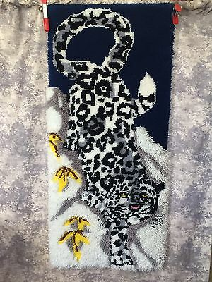 """Large Retro White Leopard  Wall Hanging Latch Hook 57"""" X 25"""""""