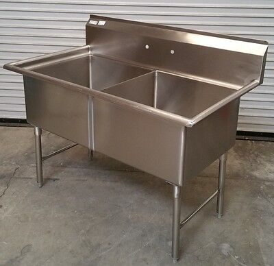 NEW 2 Compartment 24x24 Sink All Stainless Steel #2639 Commercial Food NSF