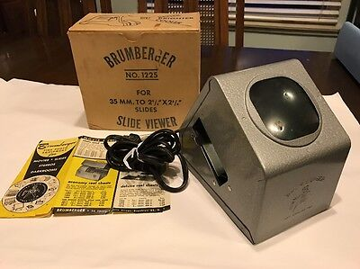 BRUMBERGER Vtg 35mm Slide Viewer No. 1225 with Original Box * Works