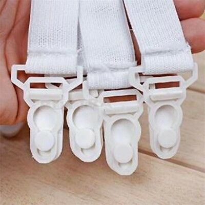 Bed Sheet Grippers Set of 4 White Fasteners Suspenders Straps Clasps Gripper
