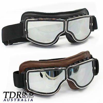 Vintage HarleyMotorcycle Motorbike Scooter Leather Tinted Goggles -Free Poly Bag