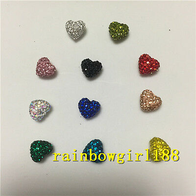 Heart Shape!10/20Qty Colorful Polymer Clay Rhinestone Pave Disco Shamballa Beads