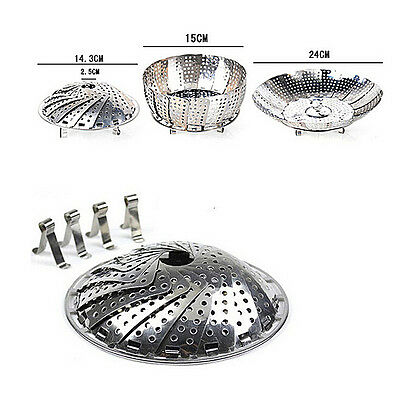 Stainless Steel Folding Steamer Steam Vegetable Basket Mesh Expandable Cooker EP